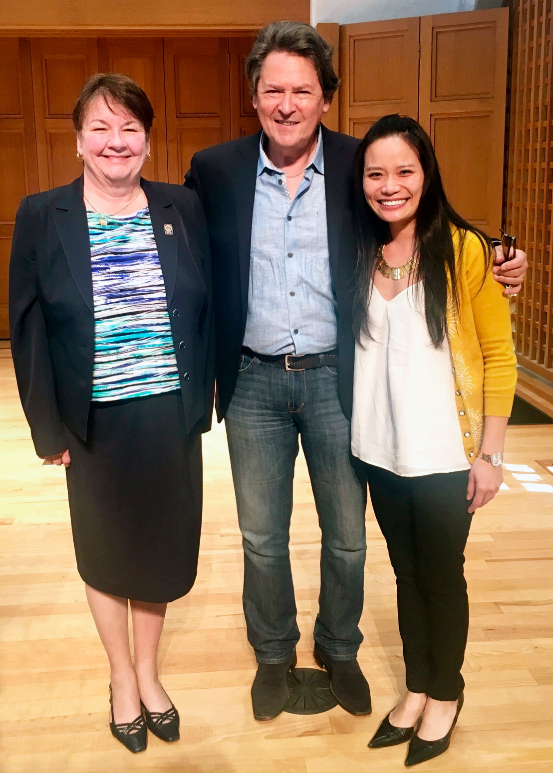 Dr. Peter Simon with Elaine Rusk and Dr. Ruby Wang, from the Pasadena Conservatory of Music