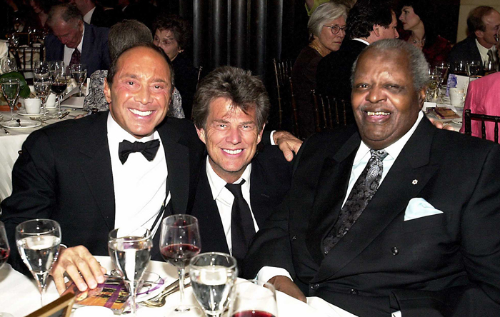 Paul Anka with Royal Conservatory alumni David Foster and the late Oscar Peterson at the 2002 Royal Occasion