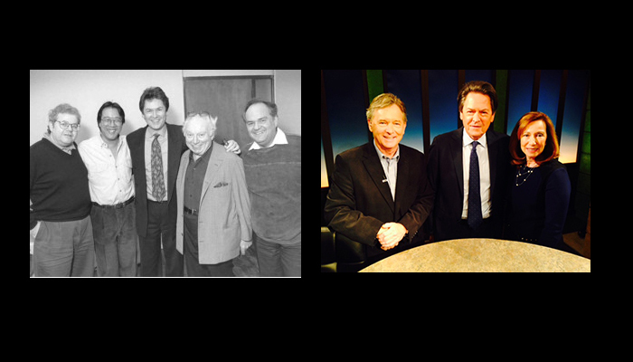 Left: Dr. Peter Simon (centre) with Emmanuel Ax, Yo-Yo Ma, Isaac Stern, and Jaime Laredo at The Royal Conservatory in February 1994. Right: Dr. Peter Simon appears on Toronto Files with hosts Helen Burstyn and Jim Deeks