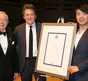 Chancellor Michael M. Koerner, President Dr. Peter Simon, and Lang Lang