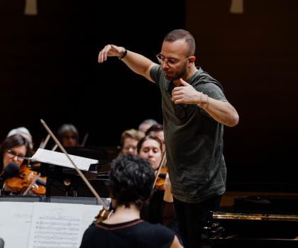 Yannick Nézet-Séguin rehearsing in Koerner Hall (photo courtesy of Orchestre Métropolitain)