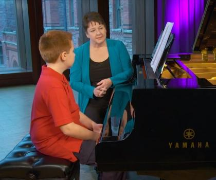 piano sight reading with teacher and student