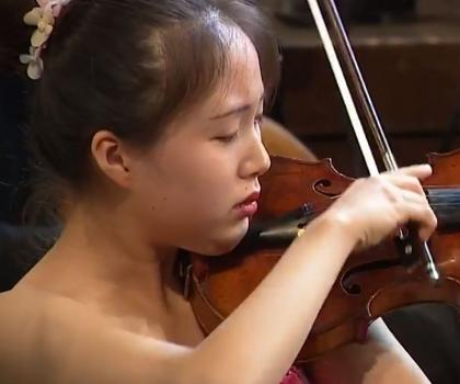 Alice Lee at International Fritz Kreisler Competition (image capture of livestream)